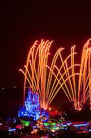 Wishes fireworks show with fireworks over the Cinderella Castle, Magic Kingdom, Walt Disney World, Orlando, Florida USA