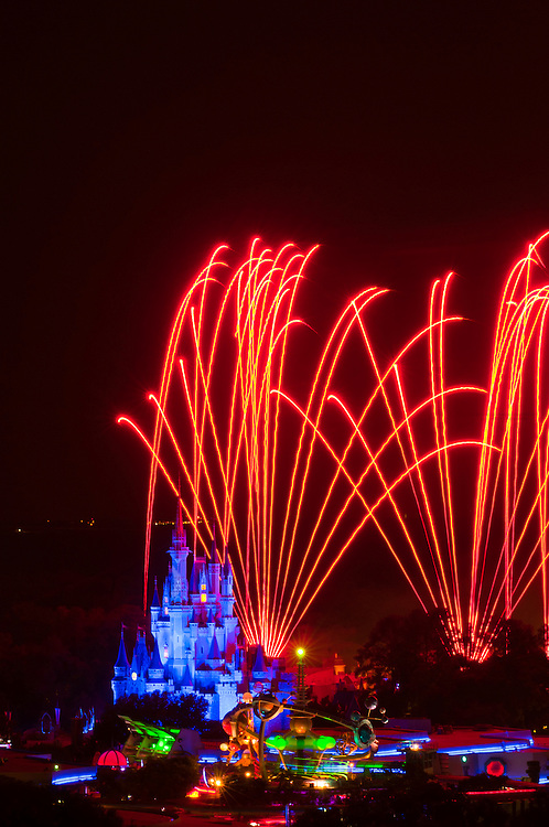 Wishes fireworks show with fireworks over the Cinderella Castle, Magic Kingdom, Walt Disney World, Orlando, Florida USA