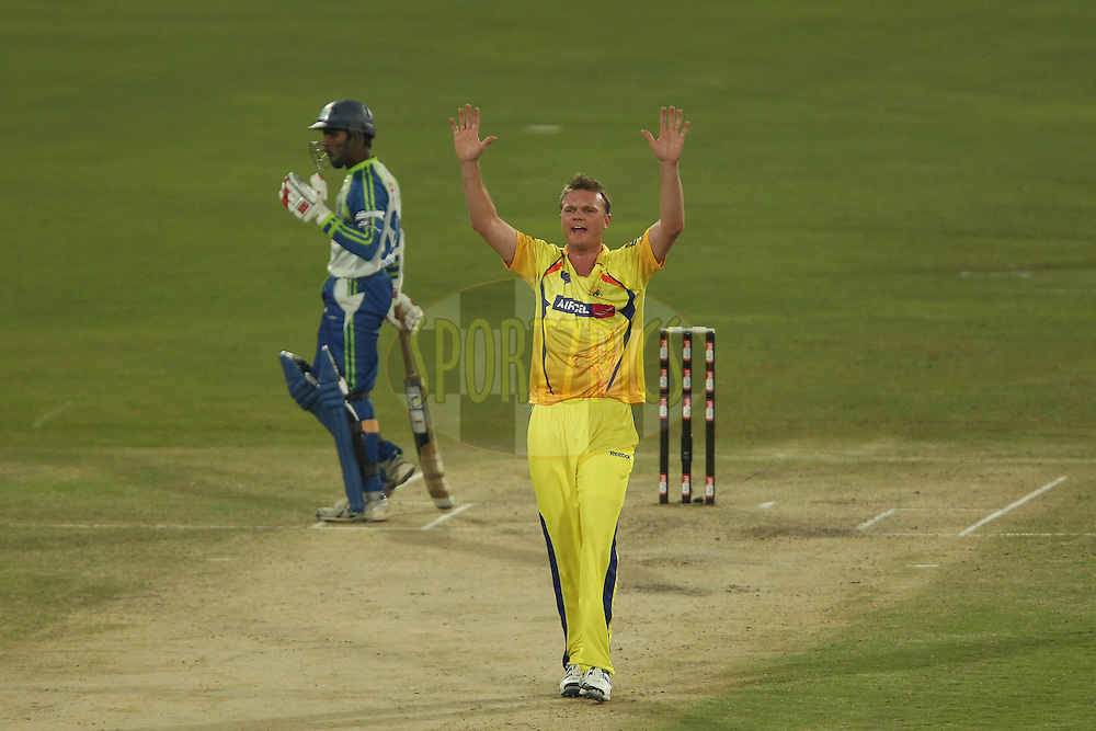 Doug Bollinger appeals for the wicket of Kusal Janith Perera of Wayamba Elevens during match 9 of the Airtel CLT20 held between the Chennai Super Kings v Wayamba Elevens at Supersport Park in Centurion on the 15 September 2010..Photo by: Ron Gaunt/SPORTZPICS/CLT20
