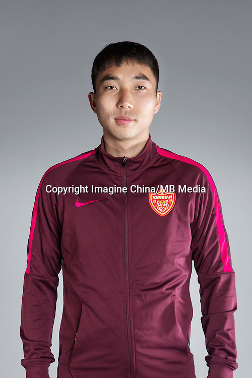 Portrait of Chinese soccer player Jin Xian of Yanbian Funde F.C. for the 2017 Chinese Football Association Super League, in Namhae County, South Gyeongsang Province, South Korea, 11 February 2017.