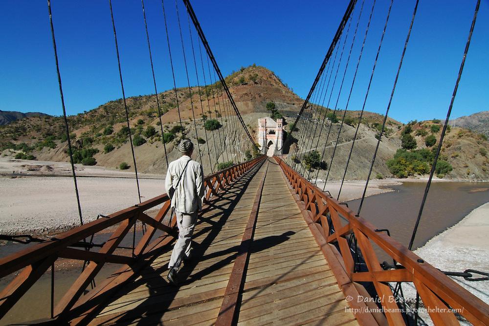 Suspension bridge between the Chuquisaca and Potosi departments in Bolivia