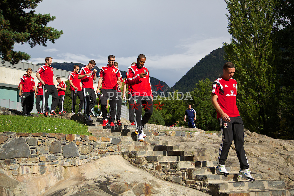 ANDORRA LA VELLA, ANDORRA - Tuesday, September 9, 2014: Wales' captain Ashley Williams takes a walk at the Andorra Park Hotel before the opening UEFA Euro 2016 qualifying match against Andorra. (Pic by David Rawcliffe/Propaganda)