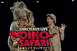 April 25, 2017 - Tokyo, Tokyo, Japan - The Dino-Safari exhibition featuring these robotic dinosaurs in Tokyo, Japan. The rubber creatures make use of a 'Dino-Tronics' mechanism, which allows them to smoothly and quietly walk around, and move their heads and jaws. However the dinosaurs are not completely autonomous - performers encased in the models control their movements..The animatronics were created by Japanese firm ON-ART Corp. The exhibit, set to open on Apr. 26 at Hikarie Hall in Tokyo's Shibuya district, will feature the 4.8m tall Raptor, the 8m Tyrannosaurus Rex and the 6.5m Triceratops. (Credit Image: © Alessandro Di Ciommo via ZUMA Wire)