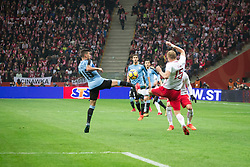 November 10, 2017 - Warsaw, Poland - Gissorgian de Arrascaeta (10) and Kamil Glik (15) during the international friendly soccer match between Poland and Uruguay at the PGE National Stadium in Warsaw, Poland on 10 November 2017  (Credit Image: © Mateusz Wlodarczyk/NurPhoto via ZUMA Press)