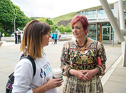 Pictured: Nicola Walsh and Angela Constane<br /> <br /> Stillbirth and neonatal death charity  launched their awareness month campaign today in Edinburgh. The #15babiesaday drive by Sands aims to highlight the fact 15 babies a day in the UK die shortly before, during or after birth.  MSPs Neil Findlay, Kezia Dugdale, Angela Constance, Ian Gray among others joined bereaved parents at its Scottish Parliament launch today.<br /> <br /> Ger Harley | EEm 15 June 2017