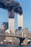 Both of New York's Twin Towers burn after being struck by two hi-jacked airplanes on September 11, 2001.