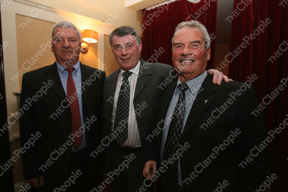Massie Dilger ,John Kirby and Georgie Dilger attending the 50th Anniversary night at the Auburn Lodge Hotel for the Eire Og team who won the County Hurling Final in 1956 .<br />