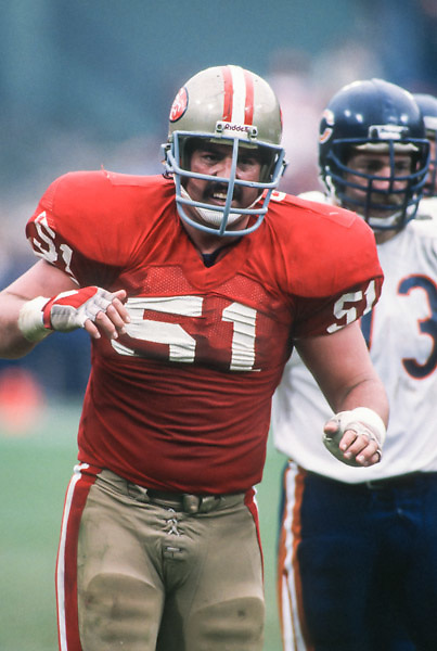 SAN FRANCISCO - JANUARY 6:  Randy Cross #61 of the San Francisco 49ers reacts to a play during the NFC Championship game against the Chicago Bears played on January 6, 1985 at Candlestick Park in San Francisco, California. (Photo by David Madison/Getty Images) *** Local Caption *** Randy Cross