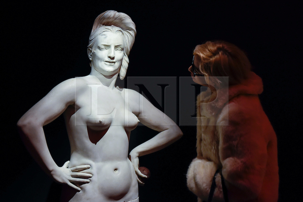 "© Licensed to London News Pictures. 10/02/2017. London, UK.  A visitor views ""Eva la scacciata (Eve expelled from Paradise)"" by Gaetano Trestin (est. GBP 5-7k), at the preview of the ""Erotic: Passion & Desire"" sale at Sotheby's in New Bond Street.  The sale, which will take place on 16 February, encompasses representations of love and sex from antiquity to the present day.  Photo credit : Stephen Chung/LNP"