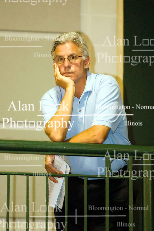 27 June 2009: Jim Molinari in blue shirt watching son play. Illinois Basketball Coaches Association Boys 3a4a All Star game.