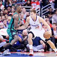 08 January 2014: Los Angeles Clippers power forward Blake Griffin (32) posts up Boston Celtics small forward Jeff Green (8) during the Los Angeles Clippers 111-105 victory over the Boston Celtics at the Staples Center, Los Angeles, California, USA.