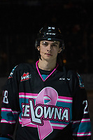 KELOWNA, CANADA - NOVEMBER 3:  Leif Mattson #28 of the Kelowna Rockets lines up against the Brandon Wheat Kings on November 3, 2018 at Prospera Place in Kelowna, British Columbia, Canada.  (Photo by Marissa Baecker/Shoot the Breeze)