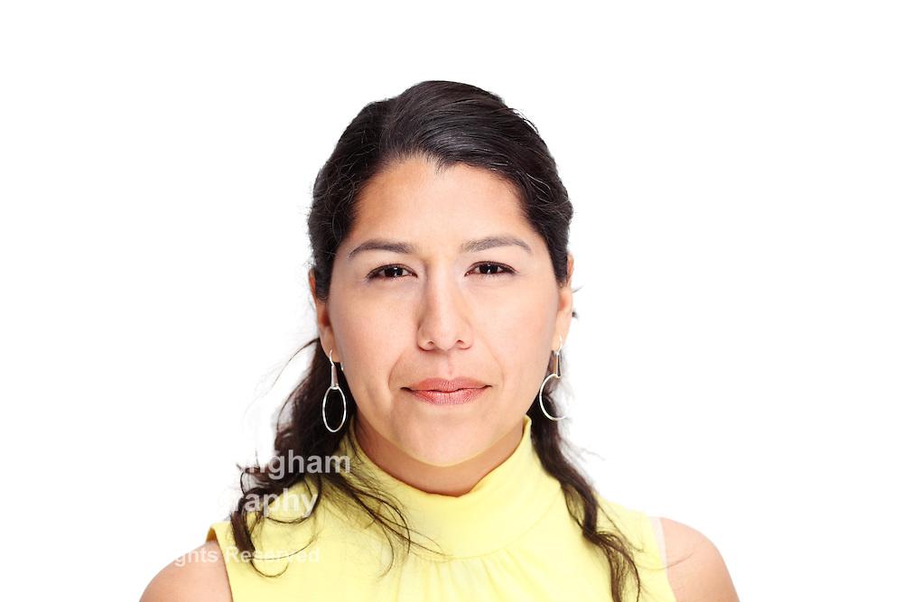 Hispanic woman on white background