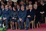 Commemoration for the 72th anniversary of the massacre  Fosse Ardeatine, made in Rome by the occupation troops of Nazi Germany, the  March 24, 1944, were killed, 335 civilians and Italian soldiers. Pictured: The President of the Republic Sergio Mattarella (R), chairman of the Senate Pietro Grasso (C), President of the Lazio Region, Nicola Zingaretti (L). Rome Italy. March 23, 2016.