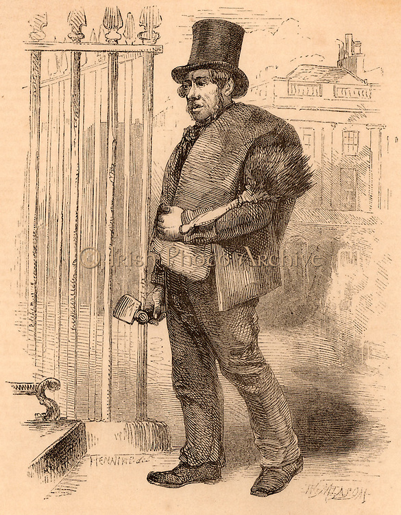 One of the last climbing chimney sweeps carrying a mattock for scraping the inside of chimneys, a brush to sweep the loose soot, and sacks for bagging up soot.  Sweeps not only suffered badly from sores, they were also susceptible to cancer of the scrotum.   Engraving from 'London Labour and the London Poor' by Henry Mayhew (London, 1861).