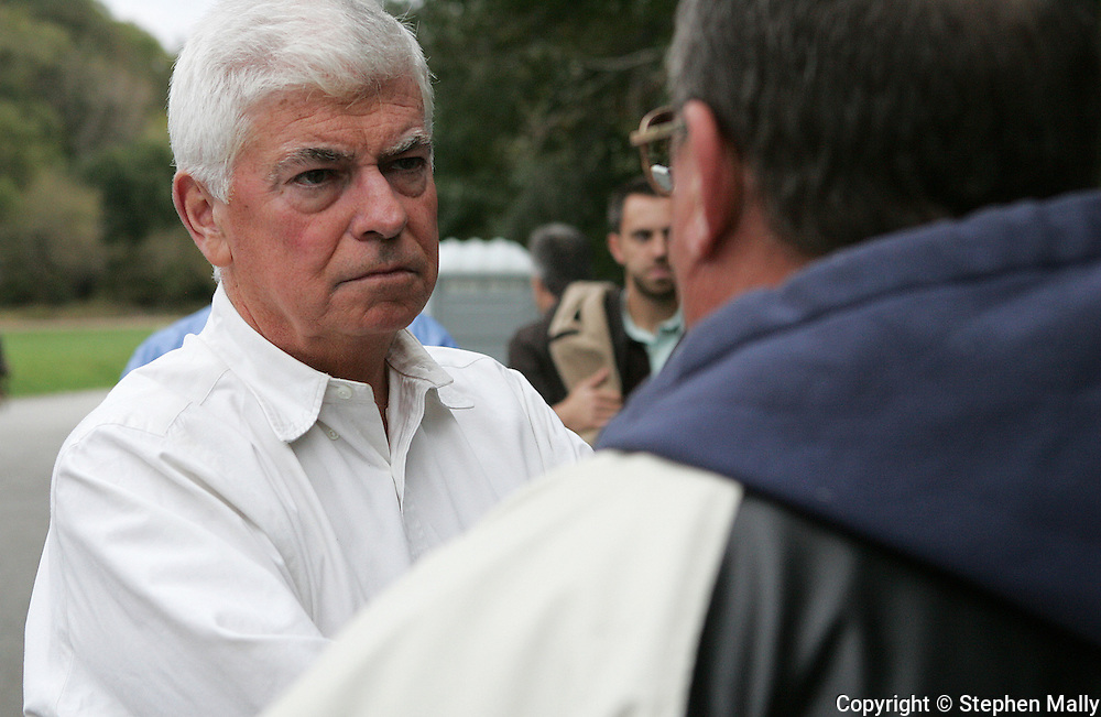 Democratic presidential candidate and Senator Chris Dodd (D-CT)  listens to Roland Rottman (right) of Lisban outside the Cargill plant in Cedar Rapids on Thursday, October 11, 2007. The Chauffeurs, Teamsters and Helpers Local Union 238 is on strike.