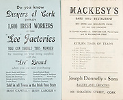 "Munster Senior and Minor Hurling Championship Final, .11081935MSMHCF,..11.08.1935, 08.11.1935, 11th August 1935,.Senior Limerick v Tipperary,.Minor Tipperary v Cork,..Dwyers of Cork ""Lee Factories"",..Mackesy's Bar and Restaurant, 70 Oliver Plunkett St, Vineyard Bar, Market Lane and 30 Washington Street,..Joseph Donnelly and Sons, Bakers and Grocers, 103 Shandon St, Cork,"