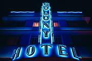 The neon sign on the front of the Colony Hotel in Miami Beach, Florida