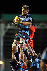 Jevon Groves (Blues) rises high to win lineout ball - Photo mandatory by-line: Patrick Khachfe/JMP - Mobile: 07966 386802 29/08/2014 - SPORT - RUGBY UNION - Leicester - Welford Road - Leicester Tigers v Cardiff Blues - Pre-Season Friendly