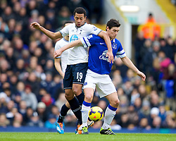 LONDON, ENGLAND - Sunday, February 9, 2014: Everton's Gareth Barry in action against Tottenham Hotspur's Mossa Dembele during the Premiership match at White Hart Lane. (Pic by David Rawcliffe/Propaganda)
