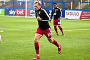 Morecambe forward AJ Leitch-Smith warming up before  the EFL Sky Bet League 2 match between Macclesfield Town and Morecambe at Moss Rose, Macclesfield, United Kingdom on 20 August 2019.