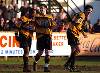 Photo: Ian Hebden.<br /> <br /> Boston United v Wycombe Wanderers. Coca Cola League 2. 18/02/2006.<br /> <br /> Bostons Julian Joachim (L) celebrates putting Boston in front.