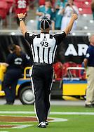 Sept. 30, 2012; Glendale, AZ, USA; NFL back judge Scott Helverson (93) reacts as he walks out on the field at University of Phoenix Stadium. Mandatory Credit: Jennifer Stewart-US PRESSWIRE.