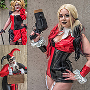 Cosplay attendee in her costume, as Harley Quinn posing for the camera at the New York Comic Con Convention.<br /> <br /> Harley Quinn, first appeared in the Batman: The Animated Series episode &quot;Joker's Favor&quot;  where she served as a humorous female sidekick to the Joker.<br /> <br /> Cosplay, a contraction of the words costume play, is a performance art in which participants called cosplayers wear costumes and fashion accessories to represent a specific character.