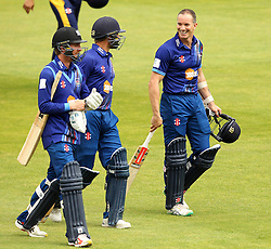 Gloucestershire's Michael Klinger shares a joke with Gloucestershire's Tom Smith and runner Gloucestershire's Chris Dent - Mandatory by-line: Robbie Stephenson/JMP - 07966386802 - 04/08/2015 - SPORT - CRICKET - Bristol,England - County Ground - Gloucestershire v Durham - Royal London One-Day Cup