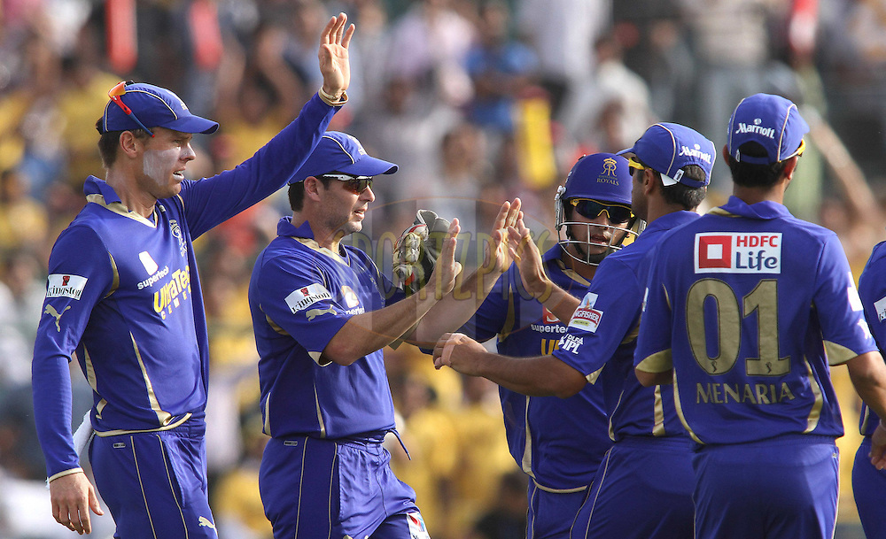 Rajasthan Royals celebrate Shikhar Dhawan of the Deccan Chargers wicket during match 20 of the the Indian Premier League (IPL) 2012  between The Rajasthan Royals and the Deccan Chargers held at the Sawai Mansingh Stadium in Jaipur on the 17th April 2012..Photo by Shaun Roy/IPL/SPORTZPICS