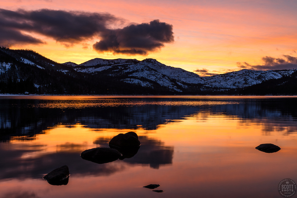 """""""Donner Lake Sunset 37"""" - Photograph of a bright orange sunset at Donner Lake in Truckee, California."""