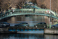 France. Paris,  11th district. bridges on Canal Saint Martin   / Paris les ponts sur le canal saint Martin