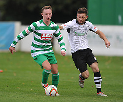 BEN GRAY THAME UNITED BATTLES WITH ROSS PATERSON CAMBRIDGE CITY,   Cambridge City v Thame United, Evo Stick League South East, Westwood Road St Ives Ground,      Saturday 14th October 2017<br /> Score:4-2  Photo:Mike Capps/Kappasport