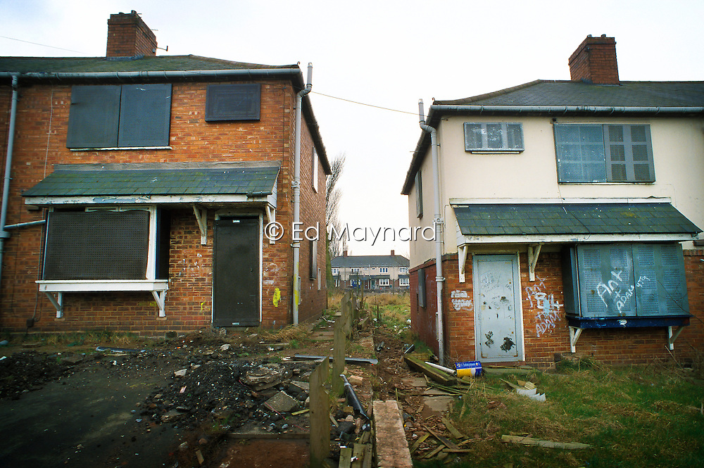 Derelict council houses awaiting redevelopment, Low Hill, Wolverhampton, West Midlands, England, Europe, UK.