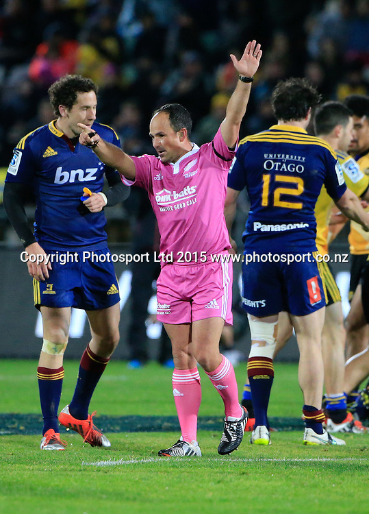 Referee Jaco Peyper. Super 15 rugby match. Hurricanes v Highlanders, McLean Park, Napier, New Zealand. Friday, 06 June, 2015. Photo: John Cowpland / www.photosport.co.nz