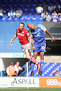 Ipswich Town forward David McGoldrick and Barnsley defender Aidan White during the EFL Sky Bet Championship match between Ipswich Town and Barnsley at Portman Road, Ipswich, England on 6 August 2016. Photo by Nigel Cole.