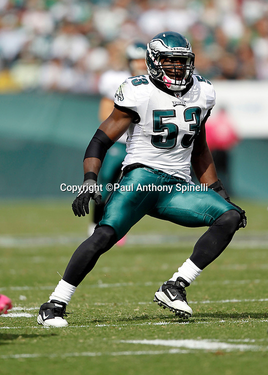 Philadelphia Eagles linebacker Moise Fokou (53) chases the action during the NFL week 6 football game against the Atlanta Falcons on Sunday, October 17, 2010 in Philadelphia, Pennsylvania. The Eagles won the game 31-17. (©Paul Anthony Spinelli)
