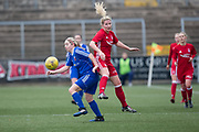 Forfar Farmington's Cheryl Kilcoyne evades the challenge of Aberdeen's Kelly Forrest - Forfar Farmington v Aberdeen in the Scottish Womens' Premier League Cup round one at Station Park, Forfar<br /> <br />  - &copy; David Young - www.davidyoungphoto.co.uk - email: davidyoungphoto@gmail.com