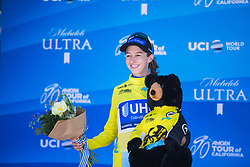 Katie Hall (USA) of UnitedHealthcare Cycling Team celebrates winning the overall after Stage 3 of the Amgen Tour of California - a 70 km road race, starting and finishing in Sacramento on May 19, 2018, in California, United States. (Photo by Balint Hamvas/Velofocus.com)