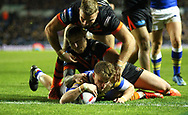 Ash Handley of Leeds Rhinos scores the try against Castleford Tigers during the Betfred Super League match at Elland Road, Leeds<br /> Picture by Stephen Gaunt/Focus Images Ltd +447904 833202<br /> 23/03/2018