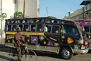 Africa. Kenya. Mombasa street scene..Matatu Taxi..CD0012