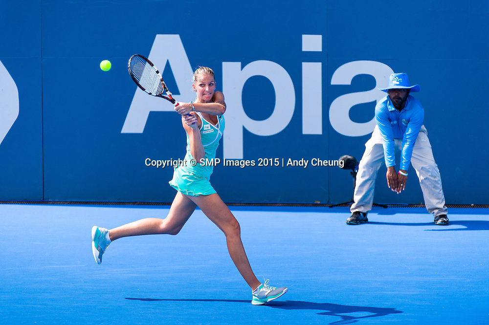KAROLINA PLISKOVA OF CZECH REPUBLIC AT 2015 APIA SYDNEY INTERNATIONAL Andy Cheung – SMP IMAGES.COM - 14th January 2015 - Womens Main Draw. This image is for Editorial Use Only. Any further use or individual sale of the image must be cleared by application to the Manager Sports Media Publishing (SMP Images). NO UNAUTHORISED COPYING : PHOTO SMP IMAGES.COM