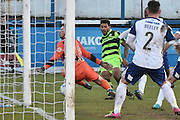 Forest Green Rovers Jake Gosling(31) shoots during the Vanarama National League match between Barrow and Forest Green Rovers at Holker Street, Barrow, United Kingdom on 28 January 2017. Photo by Mark Pollitt.