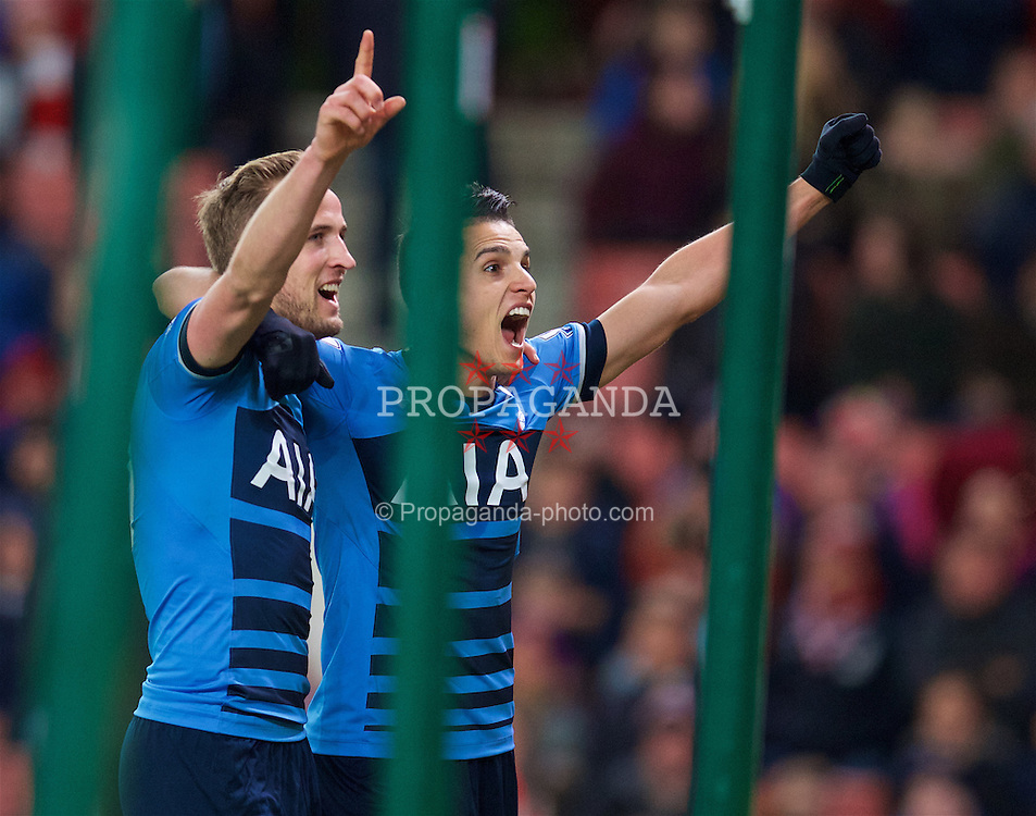STOKE-ON-TRENT, ENGLAND - Monday, April 18, 2016: Tottenham Hotspur's Harry Kane celebrates scoring the third goal against Stoke City during the FA Premier League match at the Britannia Stadium. (Pic by David Rawcliffe/Propaganda)