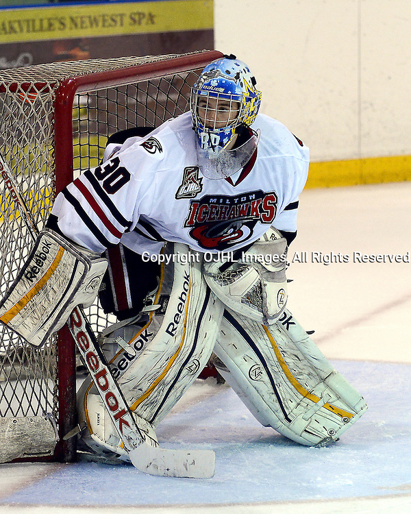 OAKVILLE,ON-Sep28:Ontario Junior Hockey League Game Action Annual Showcase Tournament between the Milton Icehawks and the Toronto Patriots, Ben Blacker  #30, of the Milton Ice Hawks Hockey Club<br /> (Photo by Graeme Reid / OJHL Images)