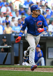 June 13, 2018 - Milwaukee, WI, U.S. - MILWAUKEE, WI - JUNE 13: Chicago Cubs Second base Javier Baez (9) drops his bat as he runs to 1st during a MLB game between the Milwaukee Brewers and Chicago Cubs on June 13, 2018 at Miller Park in Milwaukee, WI. The Brewers defeated the Cubs 1-0.(Photo by Nick Wosika/Icon Sportswire) (Credit Image: © Nick Wosika/Icon SMI via ZUMA Press)