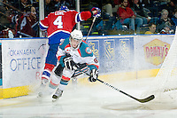 KELOWNA, CANADA - FEBRUARY 15:  Zach Franko #9 of the Kelowna Rockets checks Keegan Lowe #4 of the Edmonton OIl Kings at the Kelowna Rockets on February 15, 2012 at Prospera Place in Kelowna, British Columbia, Canada (Photo by Marissa Baecker/Getty Images) *** Local Caption ***Zach Franko;Keegan Lowe;