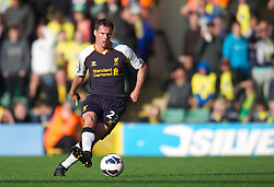 NORWICH, ENGLAND - Saturday, September 29, 2012: Liverpool's Jamie Carragher in action against Norwich City during the Premiership match at Carrow Road. (Pic by David Rawcliffe/Propaganda)