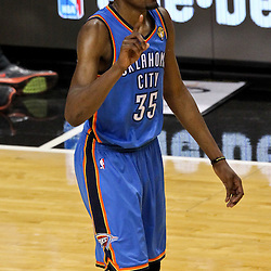 Jun 21, 2012; Miami, FL, USA; Oklahoma City Thunder small forward Kevin Durant (35) reacts against the Miami Heat during the third quarter in game five in the 2012 NBA Finals at the American Airlines Arena. Mandatory Credit: Derick E. Hingle-US PRESSWIRE
