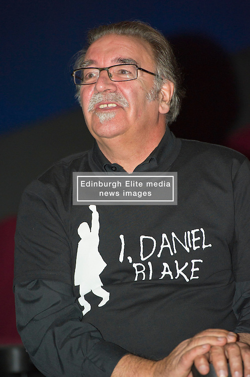 Pictured: William Black<br /> <br /> The Ken Loach film 'I, Daniel Blake' was given a special screening in Edinburgh today in front of  anti-austerity campaigners. The event was arranged by William Black who was joined by the screenwriter, Paul Laverty, Minister for Social Security in Scotland Jeane Freeman, Lewis Akers, member of the Scottish Youth Parliament for Dunfermline, Mikle Valance, ACE and Action Against Poverty, Bill Scott, Inclusion Scotland with Sasha Gallagher afrom Disability History Scotland acting as co-ordinater of the Q&A. <br /> <br /> (c) Ger Harley | Edinburgh Elite media